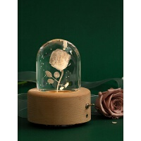七夕礼物玫瑰花水晶球音乐盒旋转八音盒天空之城木质送女生日礼物