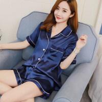 韩版春秋睡衣女冰丝绸短袖薄款两件套大码睡衣开衫家居服套装冬季