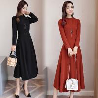 月销万件:超赞上身效果中长款连衣裙女2017新款韩版时尚修身显瘦中长款连衣裙