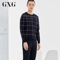 【GXG过年不打烊】GXG男装 男士冬季修身时尚流行蓝底白条针织衫男#64120434