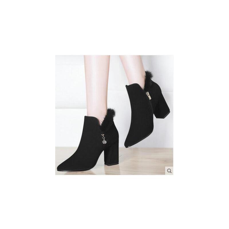 古奇天伦靴子女短靴尖头粗跟春秋百搭毛毛靴子高跟裸靴马丁靴 品质保证 货到付款