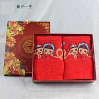 红色婚庆毛巾一对结婚棉质新人情侣毛巾创意婚庆回礼用品毛巾礼盒