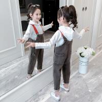 女童套装秋装儿童牛仔背带裤两件套