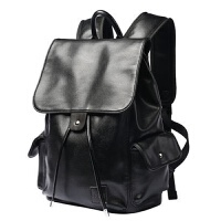 潮牌双肩皮包男女士大容量青年翻盖14寸电脑书包软皮旅行背包防水 黑色