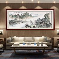 手绘国画富春山居图 风水靠山中式客厅装饰画办公室山水画挂