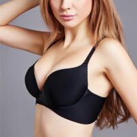 2018新品无痕无钢圈内衣舒适简约深V性感聚拢透气收副乳调整型女士文胸罩