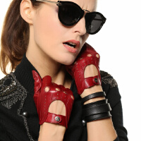 时尚女士真皮手套薄款韩版机车户外女士手套潮进口羊皮 可礼品卡支付
