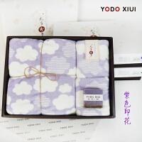 印花浴巾毛巾三件套�b日式云朵�Y盒�b柔�吸水 紫色云朵