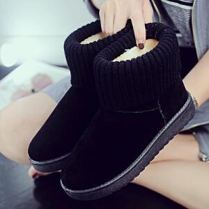 2017冬季韩版风毛线雪地靴子女短靴两穿加绒平底短筒棉鞋学生防滑
