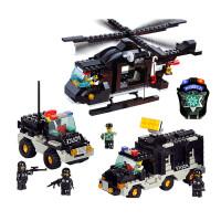儿童玩具 军事拼装积木城市警察飞机消防局模型男孩6-8岁礼物