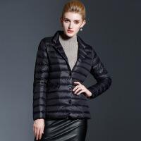秋冬新款欧美女装超轻超薄轻便户外羽绒服短款西装外套 黑色