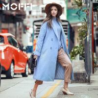 春装新款蓝色翻领廓形中长款毛呢外套女欧美呢子大衣妮子 蓝色