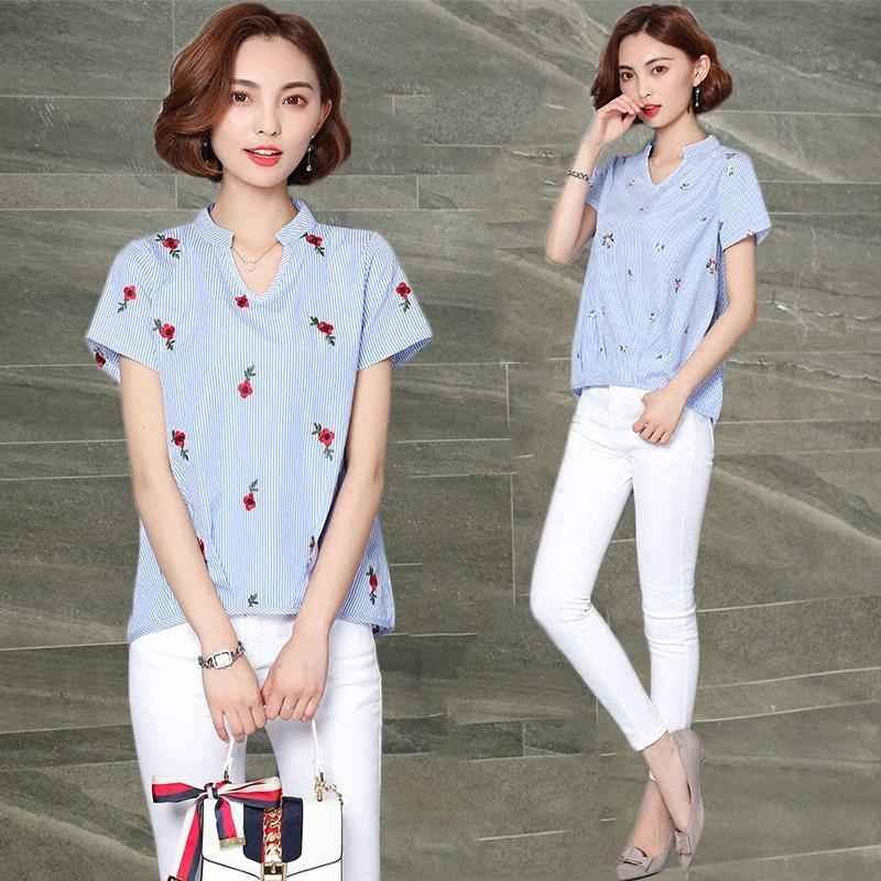 棉麻刺绣花条纹短袖衬衫女装夏季新款大码V领衬衣上衣潮