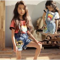 女童背带裤夏韩版童装中大童女孩牛仔热裤薄款儿童牛仔短裤潮