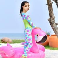 学生训练泳衣防晒寒少女水母泳衣中大童儿童泳衣连体拉链长袖裤 果绿色