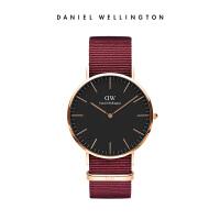 新品DanielWellington丹尼尔惠灵顿DW男士手表红色织纹带腕表