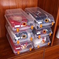 加厚透明鞋盒 自由组合男女鞋子收纳盒 简易防尘塑料整理箱 桔色 卡扣透明10个装 21x37x13cm
