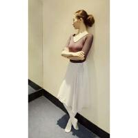 儿童芭蕾舞蹈练功服雪纺短裙一片纱裙教师体操长裙 均码