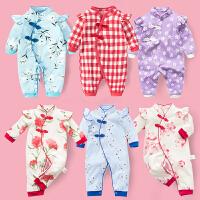女婴儿连体衣服宝宝新生儿0岁3个月纯棉6秋季1秋装秋冬季冬装睡衣