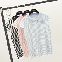 2018春夏 韩范学院风小清新翻领点点条纹修身洋气针织衫T恤