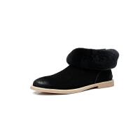 新款冬真皮真毛雪地靴学生平底休闲马丁靴皮毛一体保暖运动鞋