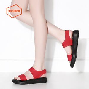 达芙妮旗下SHOEBOX/鞋柜简约纯色休闲舒适松糕底女凉鞋