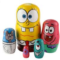 创意异国套娃 玩具 摆件 装饰 套娃5层 海绵宝宝 卡通 创意 摆件 生日礼品 儿童 可爱卡通5层