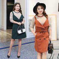 春季新款连衣裙女 两件套加肥加大码200斤西装领中长款显瘦打底裙