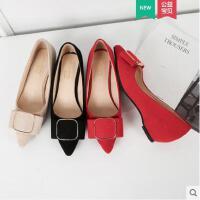 单鞋女平底尖头时尚新款网红时尚百搭浅口ins同款一脚蹬休闲晚晚鞋子