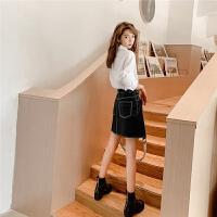七格格半身裙秋冬女2019新款韩版高腰a字短裙黑色显瘦小个子皮裙