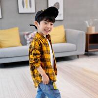 男童长袖衬衫春装儿童格子衬衣纯棉春秋