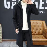 2018秋季新款男土风衣中长款学生韩版修身帅气潮牌呢子大衣高中生毛呢冬季外套