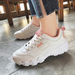 2018春季新款韩版厚底系带小白鞋学生百搭休闲鞋跑步鞋增高女鞋潮