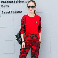 休闲套装女春秋季2017新款潮韩版运动时尚宽松迷彩长袖卫衣两件套
