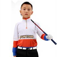 PGM 高尔夫服装 儿童款长 袖T恤 拉链领 秋冬款 保暖