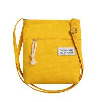 手机包女2018新款韩版装手机的小包包帆布包单肩斜挎零钱包袋 白色 小布包