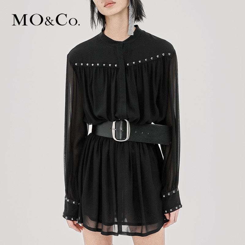 MOCO裙子女春秋A字收腰显瘦连衣裙短裙长袖MA183DRS105 摩安珂 满399包邮 个性铆钉 简洁圆领