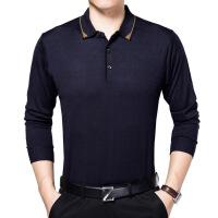 中年男士长袖T恤商务休闲上衣翻领修身打底衫羊毛衫爸爸装桑蚕丝