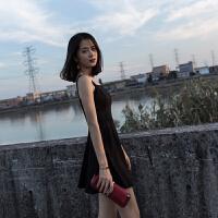 2018新款夏季女装收腰显瘦修身黑色礼服短款裙子吊带连衣裙小黑裙 黑色