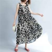 夏季新款系带腰格子褶皱短袖连衣裙宽松大码女装几何印花棉麻长裙