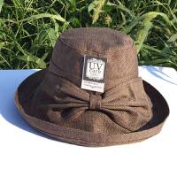 日本遮阳帽子女士夏天韩版棉款透气凉帽渔夫帽防紫外线可折叠布帽 咖系 送防风绳 可调节