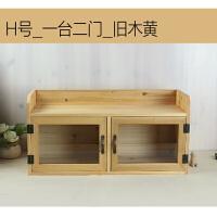 桌面收纳化妆品箱桌上家具小木柜双门咖啡色复古风 旧木黄色 旧木黄 1个