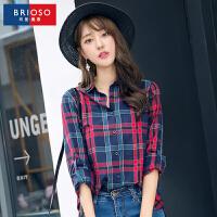 BRIOSO 韩版女士宽松长袖格子衬衫 秋装新款全棉基础时尚百搭休闲女装衬衣 WE19795