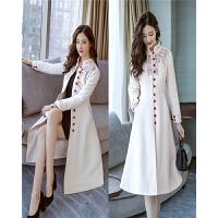 呢大衣女冬装新款中长款修身显瘦文艺气质加厚绣花刺绣毛呢外套女