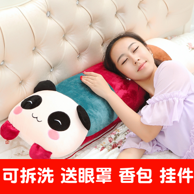 【支持礼品卡】可拆洗卡通熊猫抱枕兔子毛绒玩具公仔娃娃单双人枕头床头大靠背垫 k4j 默认:双人枕100cm*28cm