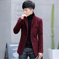冬季韩版双面羊绒呢子大衣男中长款毛呢外套落肩呢大衣风衣男装 红色 M