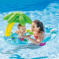 儿童遮阳游泳圈男女宝宝坐圈亲子充气救生圈婴儿母子浮圈