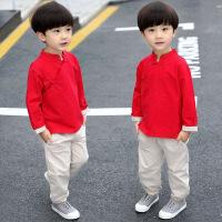 秋季长袖童装复古儿童唐装男童套装小孩中国风棉麻汉服民族风古装