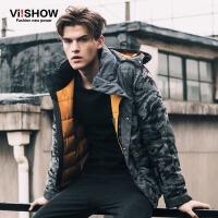 VIISHOW冬装新款棉衣外套 欧美潮流迷彩印花棉服男 连帽棉衣 M149854