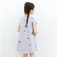 amii童装女童2017短袖夏季款连衣裙棉质儿童t恤中大童上衣中长款